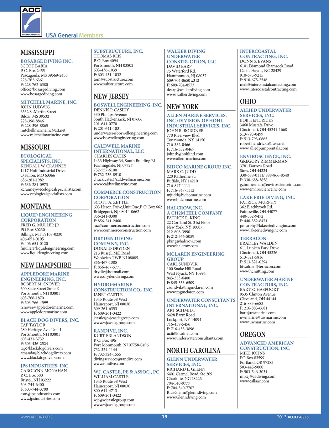 Blue Pages 2013 Membership Directory