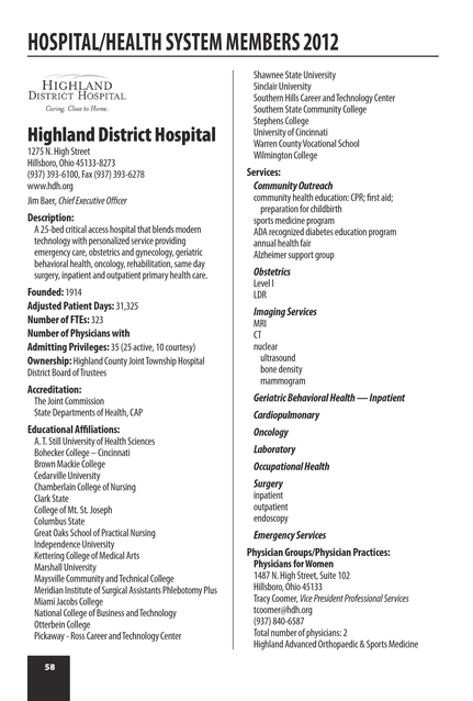 Greater Cincinnati Health Council 2012 Membership Directory