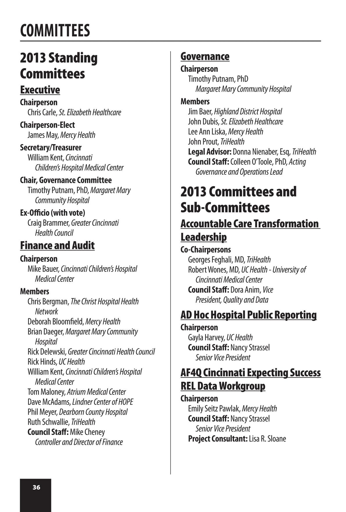 Greater Cincinnati Health Council 2013 Membership Directory