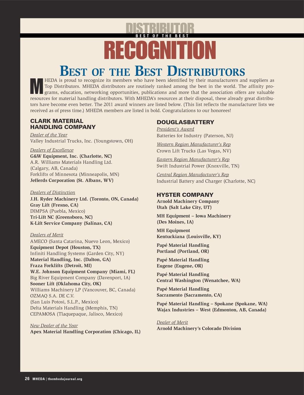 The MHEDA Journal - Third Quarter, 2012