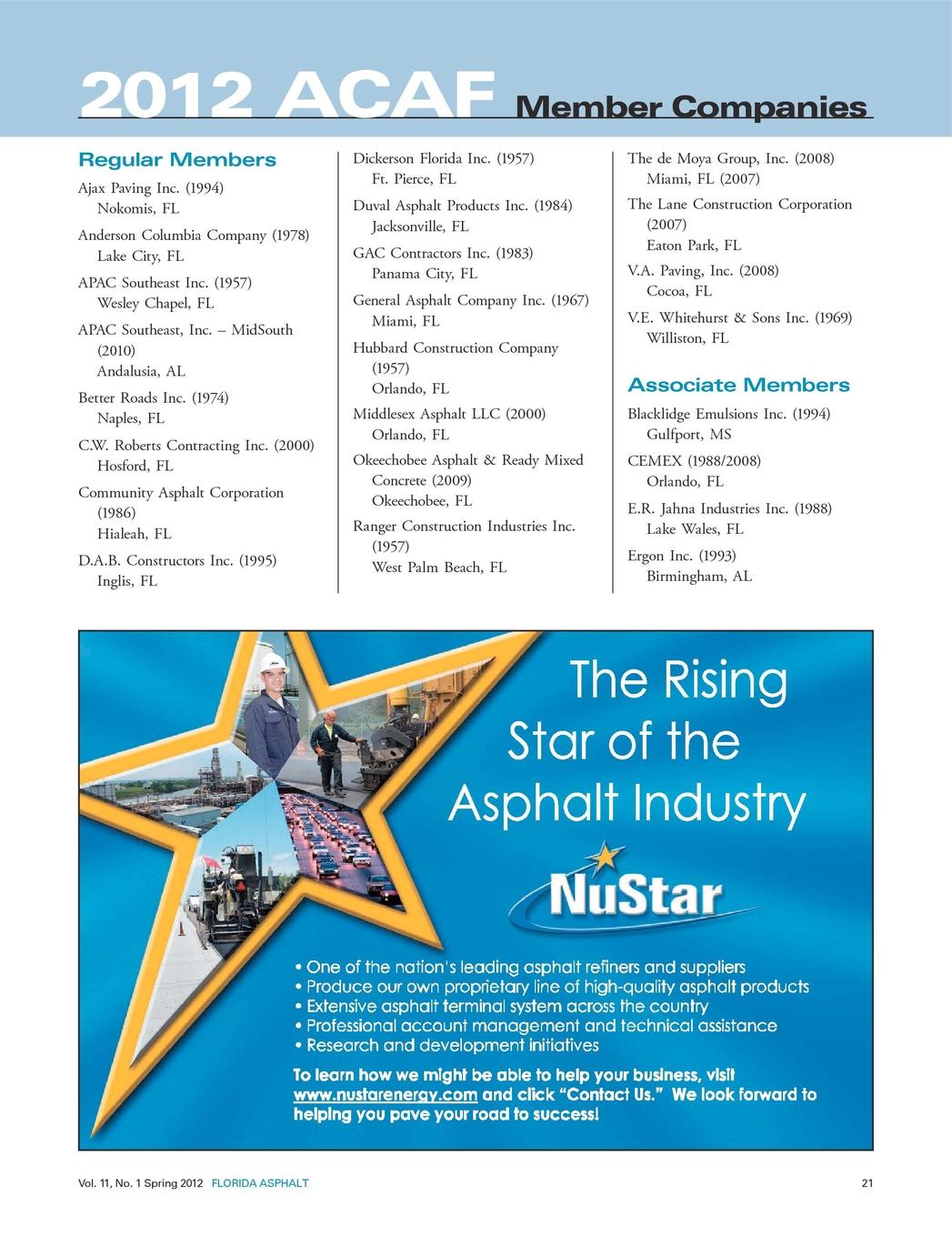 Florida Asphalt Spring 2012 Blue Star Electric Llc