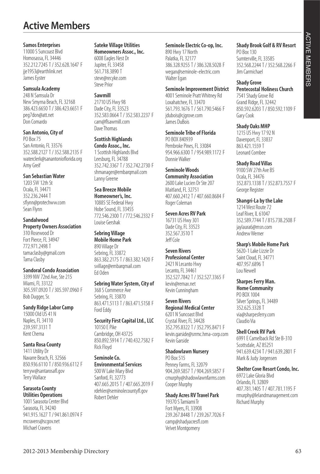 Florida Rural Water 2012-2013 Membership Directory