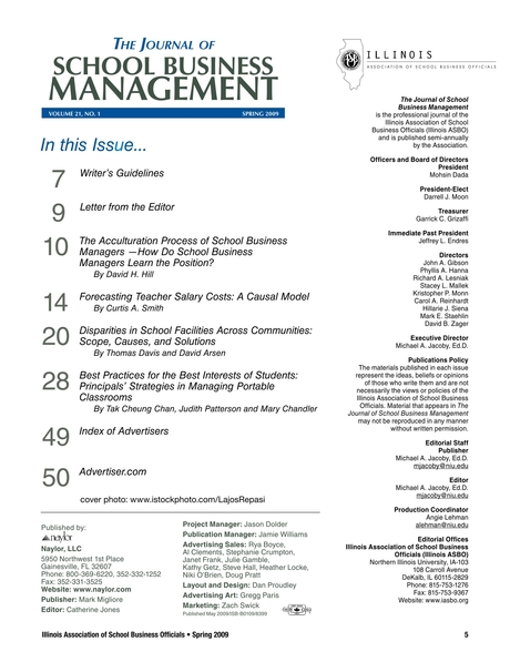The Journal Of School Business Management Spring 2009