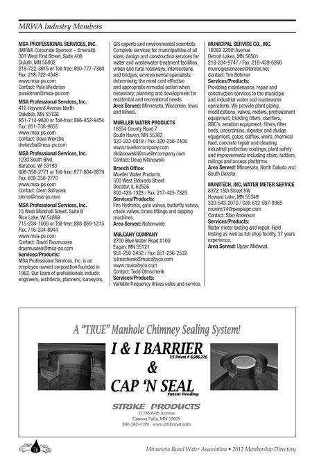 Minnesota Rural Water Association 2012 Membership Directory