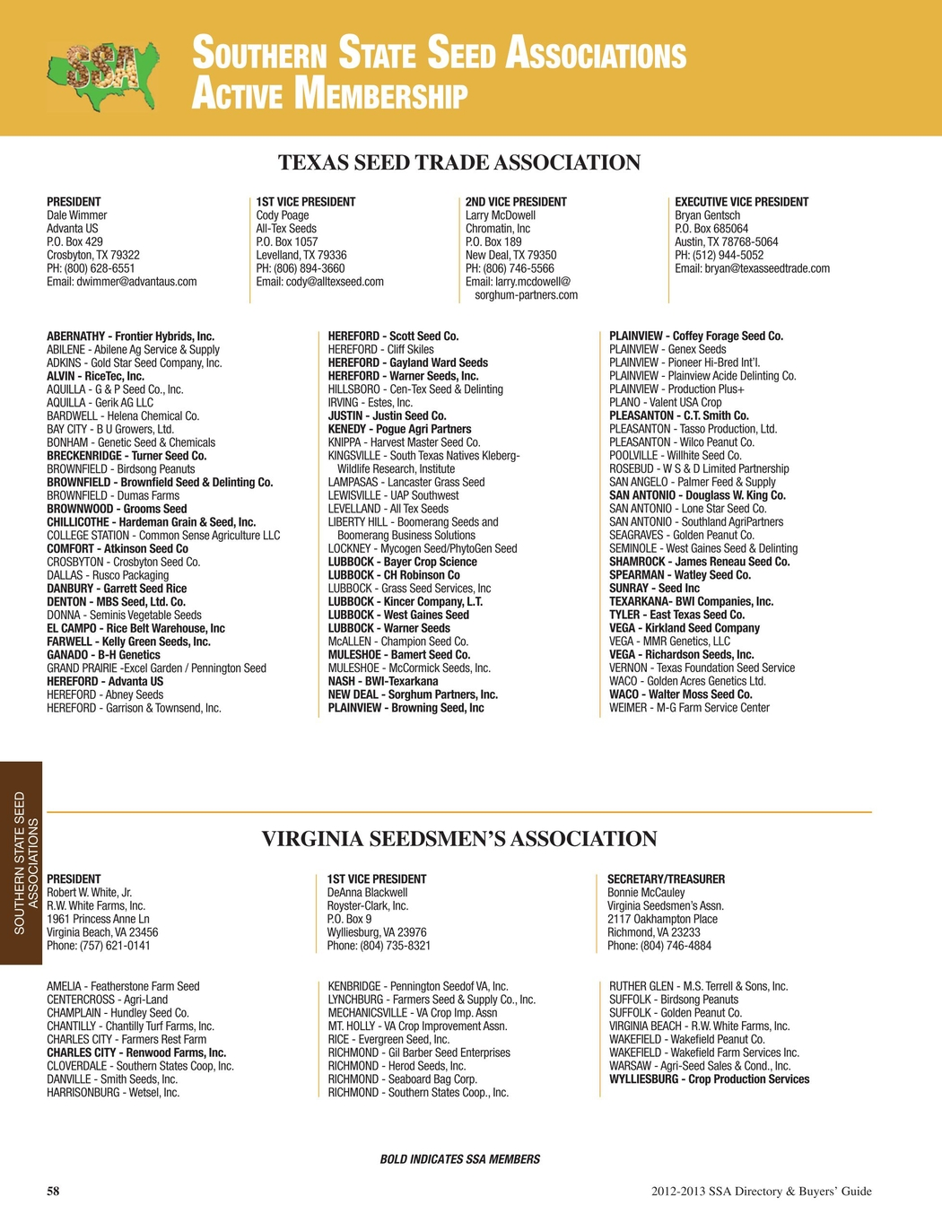 SSA 2012-2013 Directory and Buyers Guide