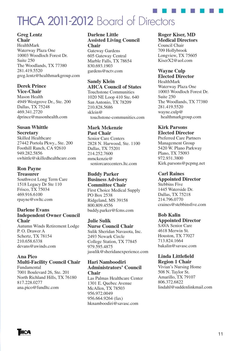 texas health care association 2011 2012 membership directory