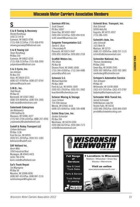 Wisconsin Motor Carriers Association Membership Directory 2012 [50 - 51]