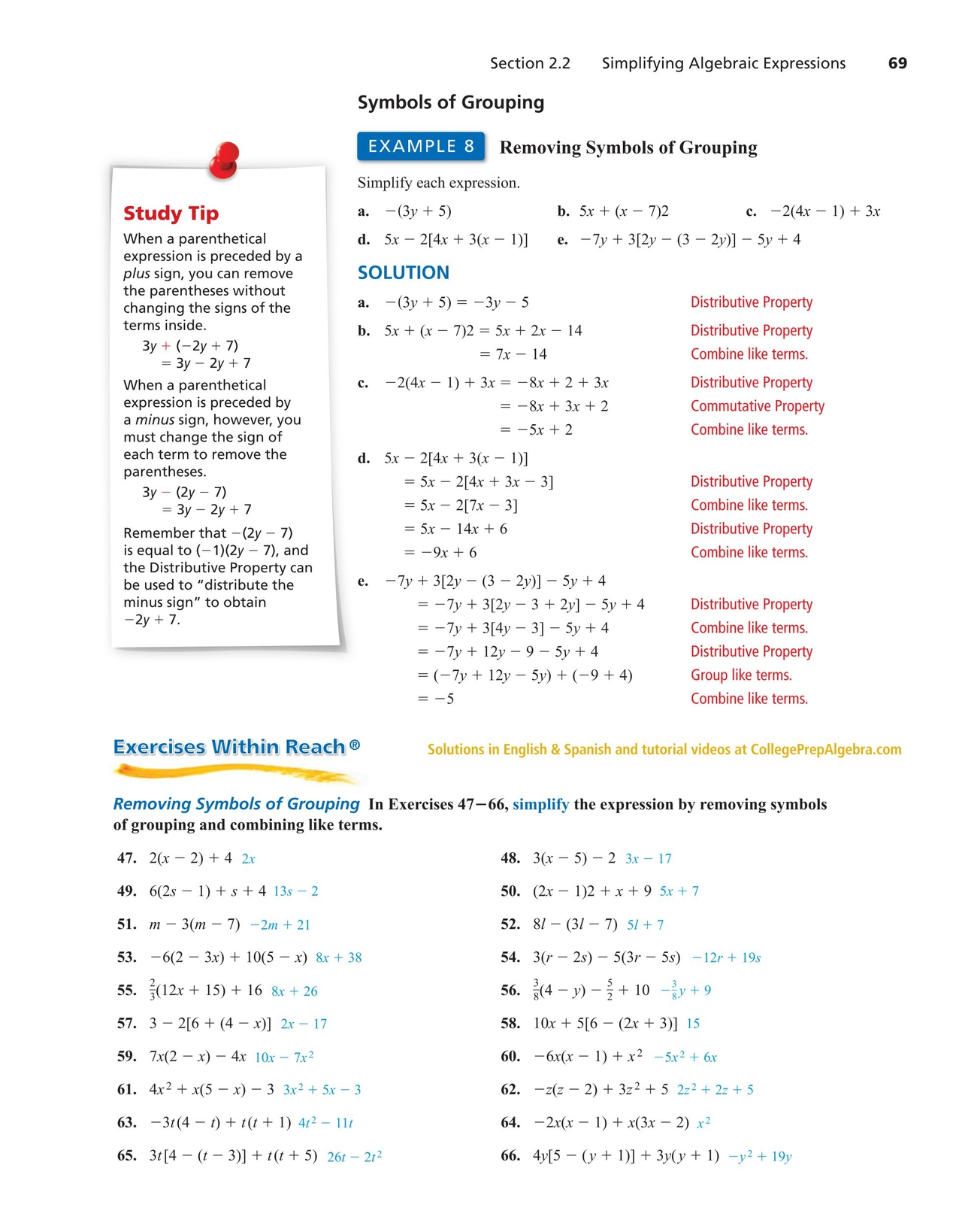 College prep algebra 68 69 of algebra simplifying algebraic expressions to simplify an algebraic expression generally means to remove symbols of grouping and combine like terms biocorpaavc Choice Image