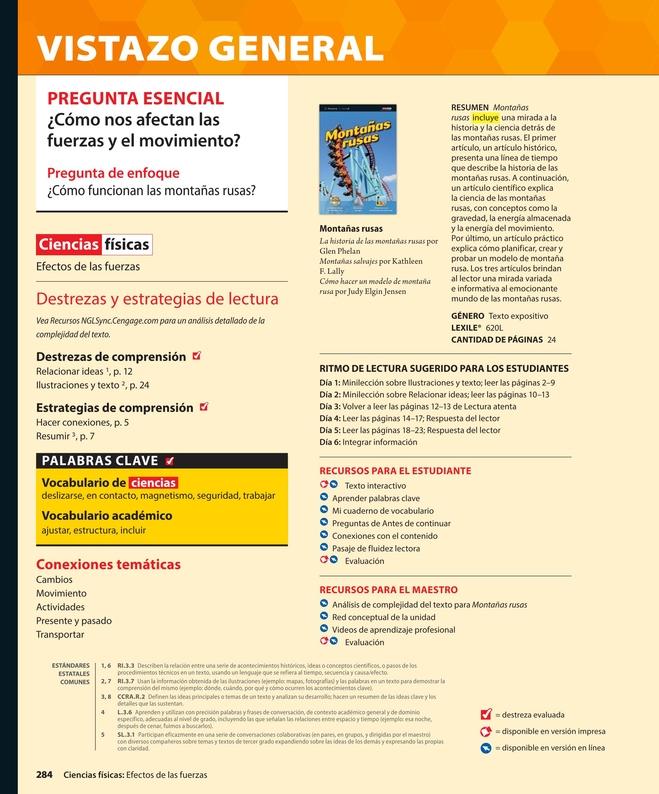 Panorama Science Te Common Core Spanish Grade 3