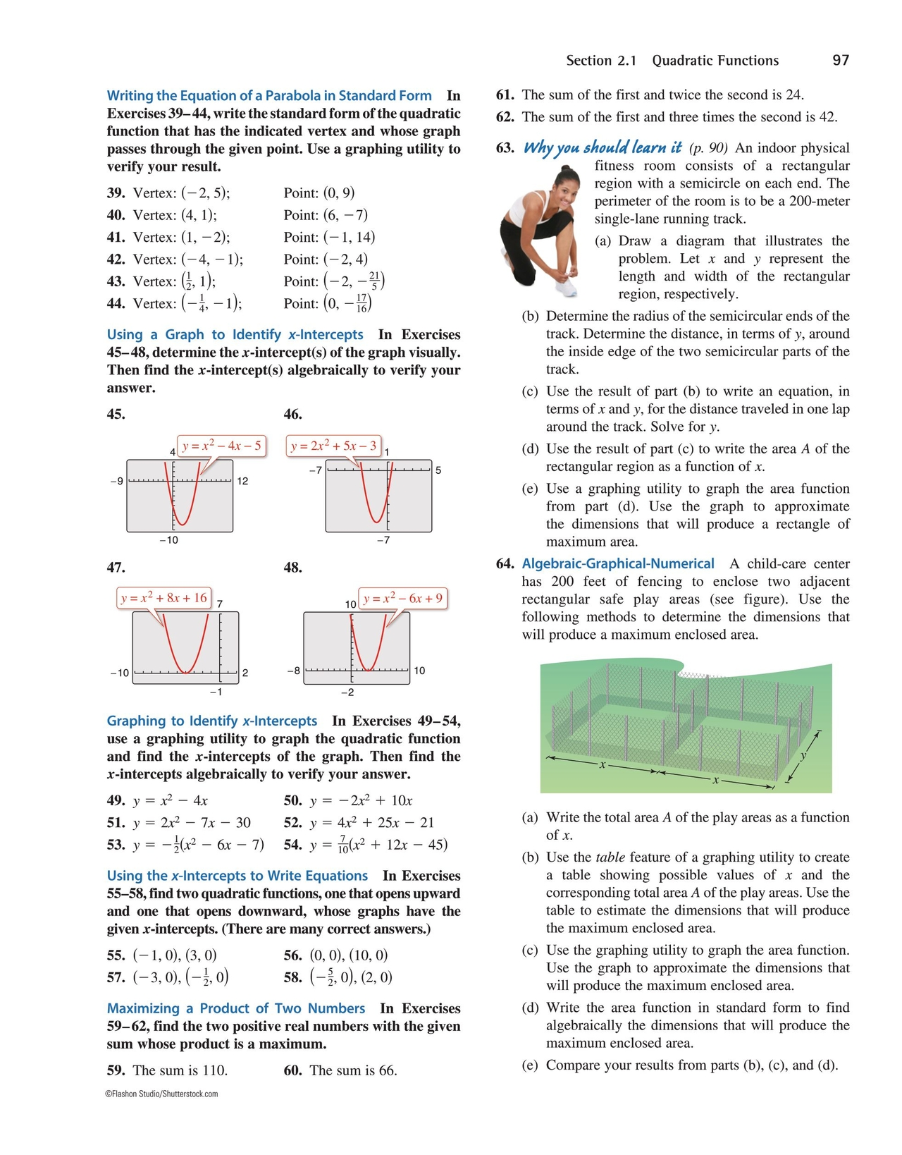 Precalculus with limits 7th edition 96 97 97 section 21 writing the equation of a parabola in standard form in exercises 39 44 write the standard form of the quadratic function that has the falaconquin