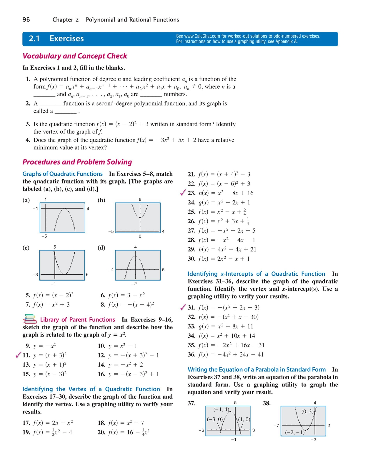 Precalculus with limits a graphing approach 96 97 precalculus with limits a graphing approach page 96 96 chapter 2 21 polynomial and rational functions see calcchat for worked out solutions falaconquin