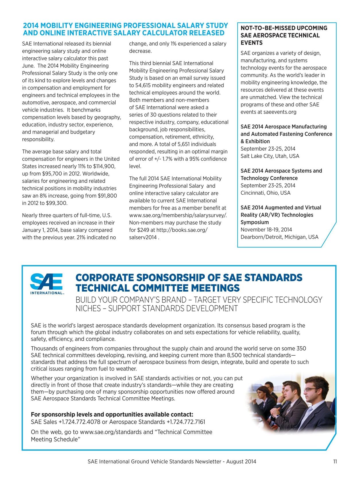 Aerospace Standards Newsletter - August 2014
