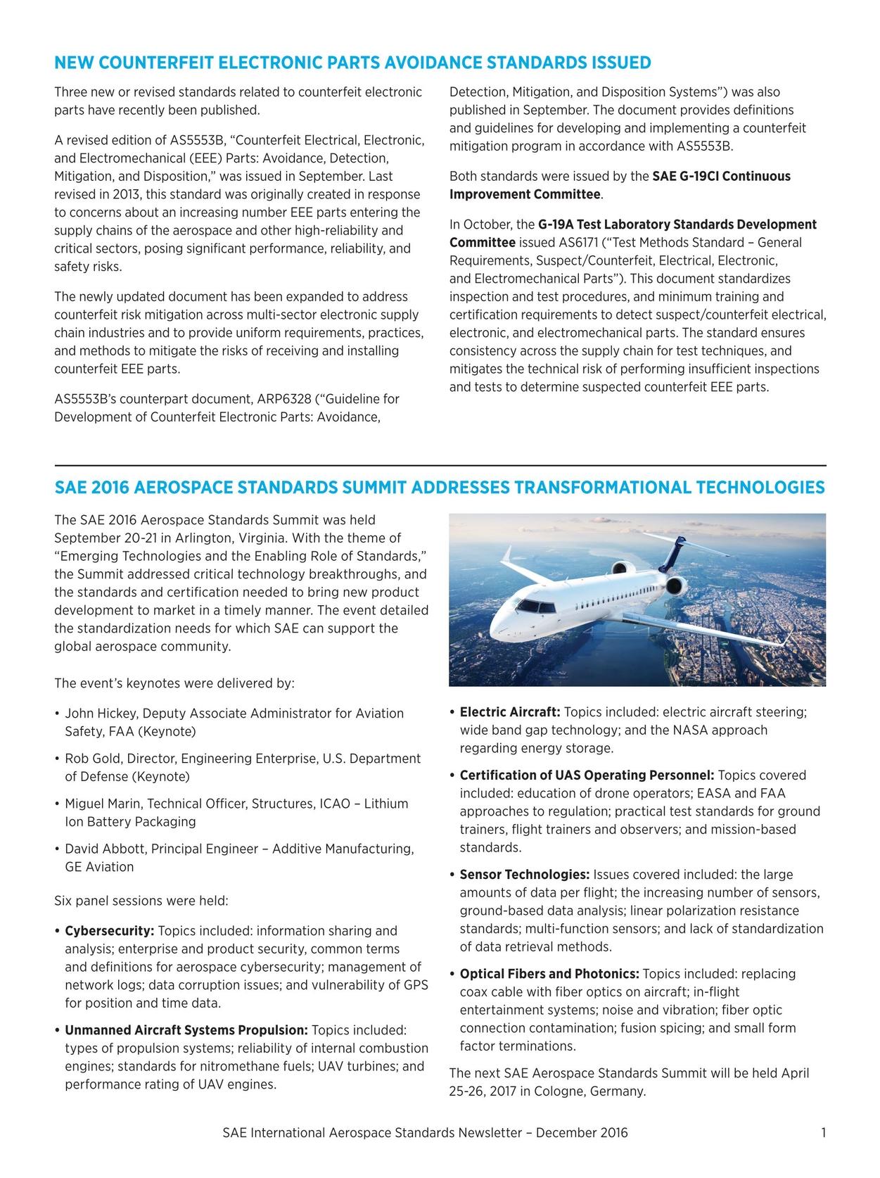 Aerospace Standards Newsletter - December 2016