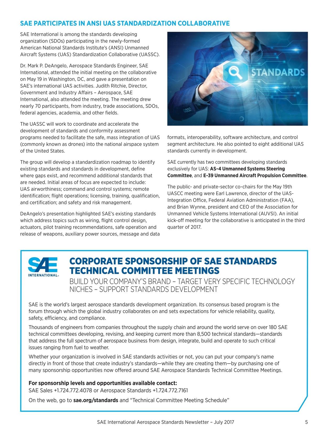 aerospace standards newsletter july 2017