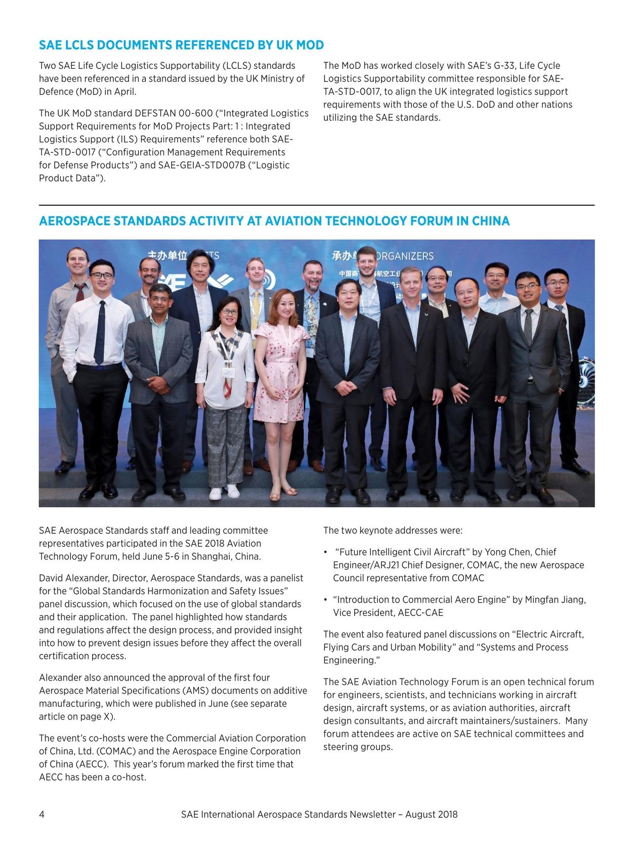 Aerospace Standards Newsletter - August 2018