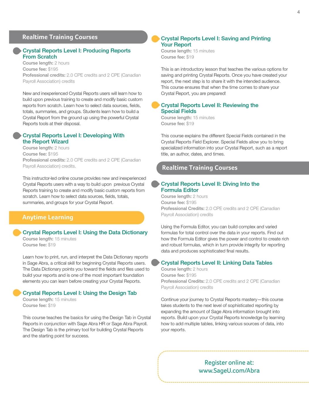 Sage Abra HRMS - Customer Training Catalog - Summer 2011