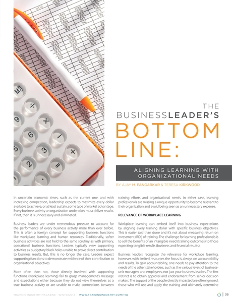 Training Industry Magazine - Winter 2014 - The Business Leader's Bottom Line: Aligning Learning with Organizational Needs