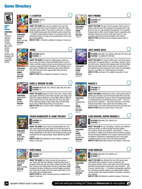 Walmart Parents Guide to Video Games 2017