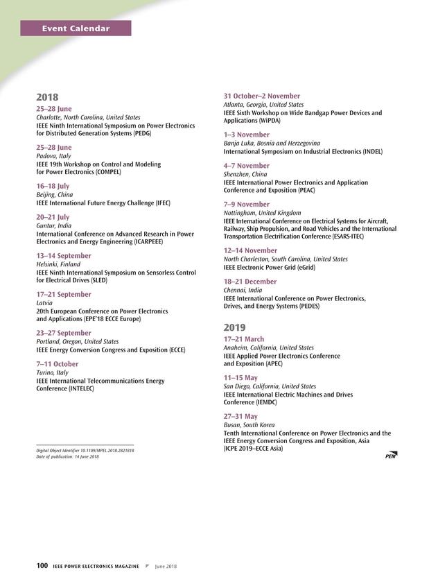 Ieee Calendar 2019 December Korea IEEE Power Electronics Magazine   June 2018