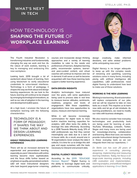 Training Industry Magazine - November/December 2019 - How Technology is Shaping the Future of Workplace Learning